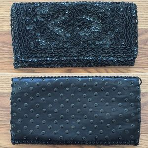 Newey Bris • Vtg 60's Sequin Beaded Satin Clutch